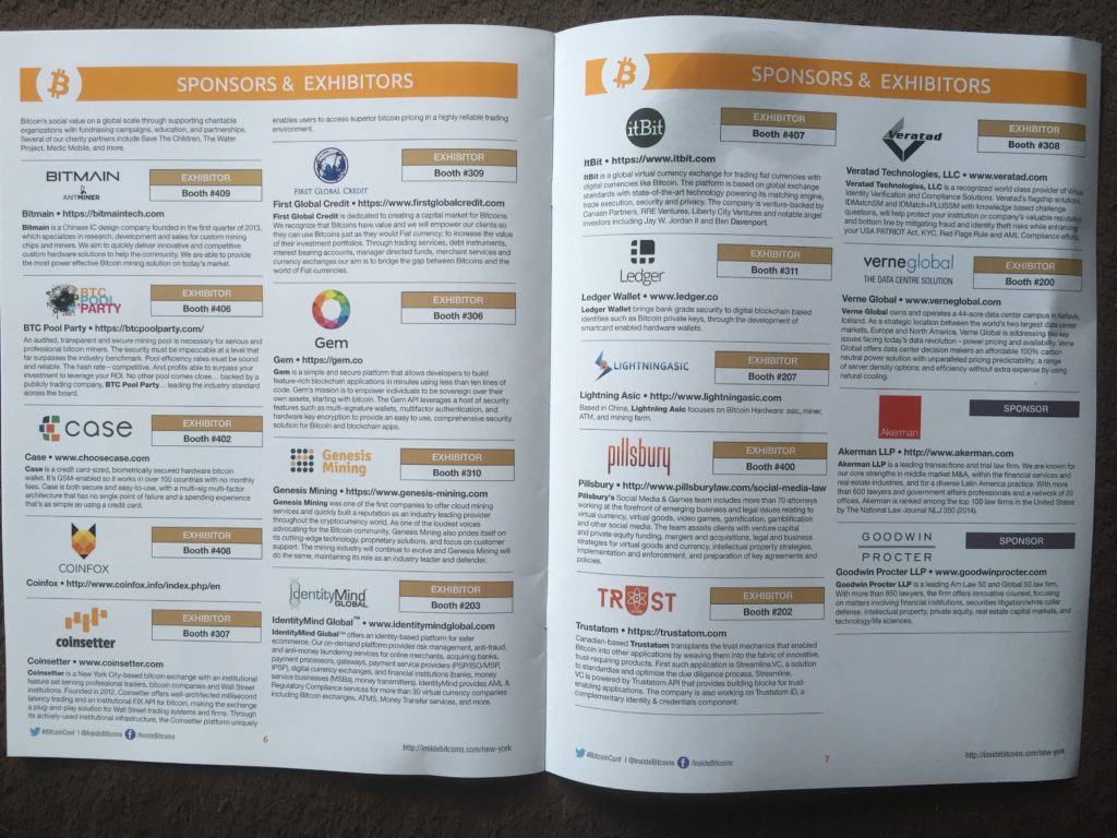 Inside Bitcoins New York Guidebook - More Sponsors and Exhibitors